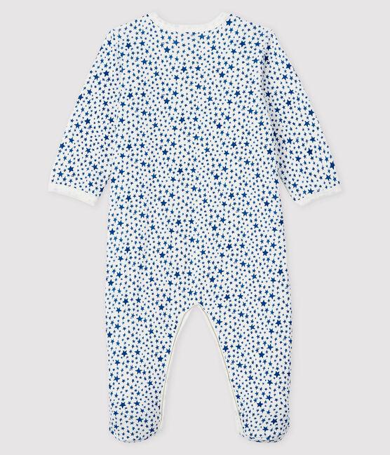 Dors-bien à imprimé étoiles bleues bébé en tubique blanc Marshmallow / blanc Multico