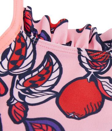 Maillot de bain UPF 50+ une pièce fille rose Patience / blanc Multico