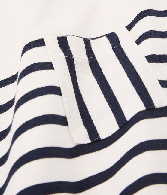 Robe manches courtes femme blanc Marshmallow / bleu Smoking