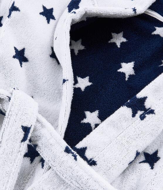 Peignoir petit garçon en éponge blanc Marshmallow / bleu Medieval