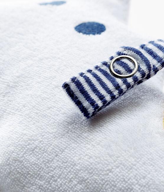 Doudou tétine bébé garçon en bouclette éponge blanc Marshmallow