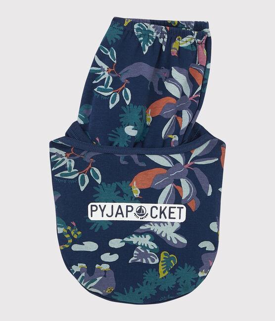 Pyjacourt imprimé jungle petit garçon en côte bleu Medieval / blanc Multico