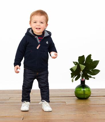 Sweatshirt zippé bébé garçon en polaire bleu Abysse