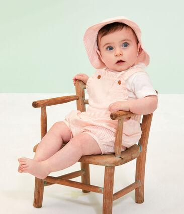 Capeline en seersucker bébé fille blanc Marshmallow / rose Rosako