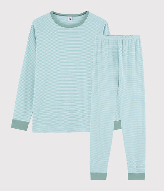 Pyjama rayé bleu mixte en côte bleu Tiki / blanc Marshmallow