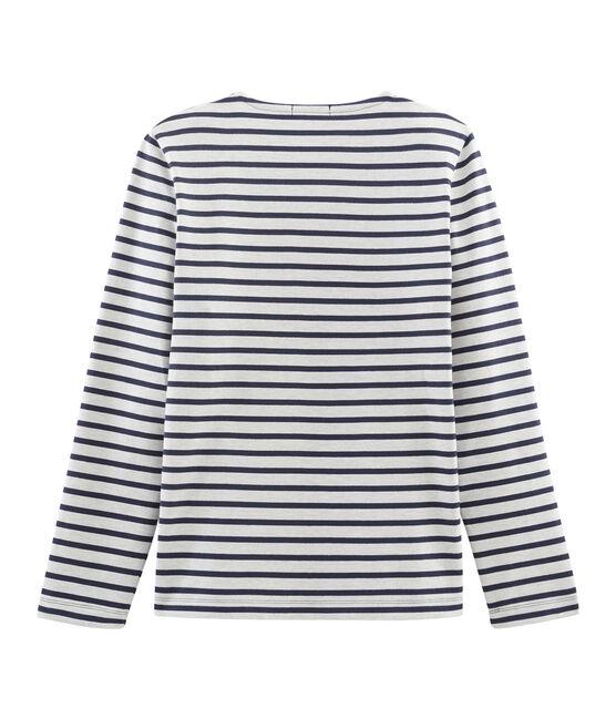 Marinière iconique manches longues 100% coton jersey lourd. beige Coquille / bleu Smoking