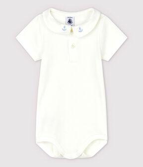 Body col brodé en coton bébé garçon blanc Marshmallow