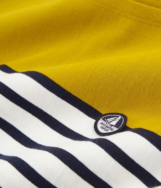 Marinière manches courtes femme jaune Bamboo / blanc Marshmallow