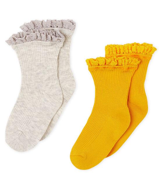 Lot de 2 paires de chaussettes dentelle bébé fille jaune Boudor