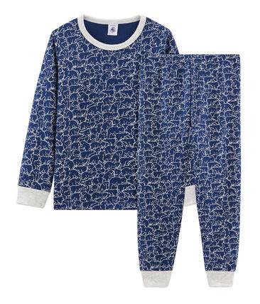Pyjama petit garçon en molleton bleu Major / blanc Marshmallow
