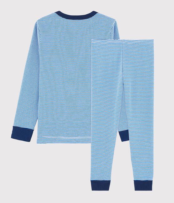 Pyjama milleraies bleu petit garçon en côte bleu Ruisseau / blanc Marshmallow