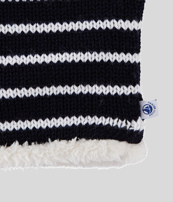 Snood enfant fille/garçon bleu Smoking / blanc Marshmallow