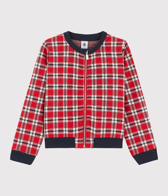 Cardigan à carreaux enfant fille rouge Terkuit / blanc Multico