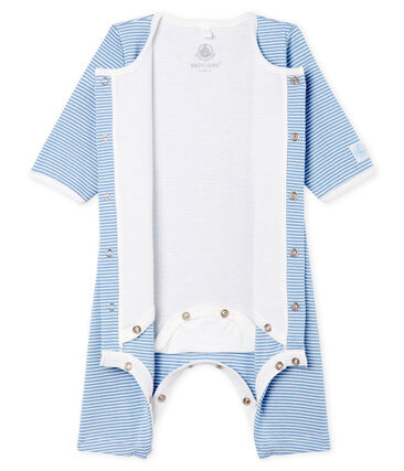 Bodyjama sans pieds bébé fille en côte bleu Acier / blanc Marshmallow