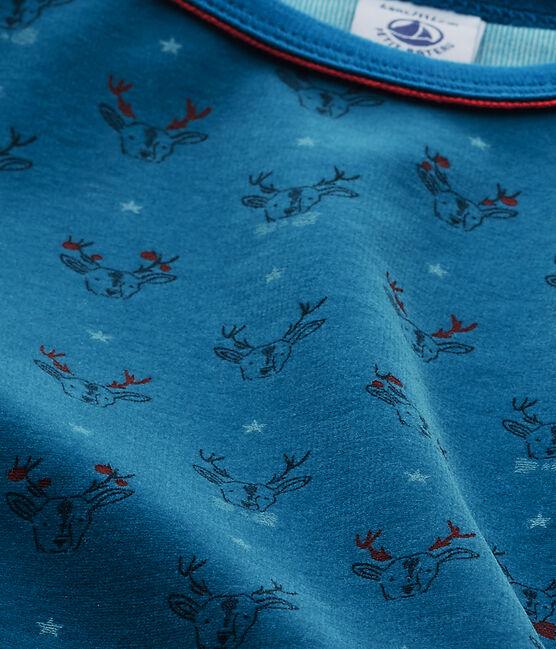 Pyjama garçon en bouclette velours gris Capecod / bleu Contes