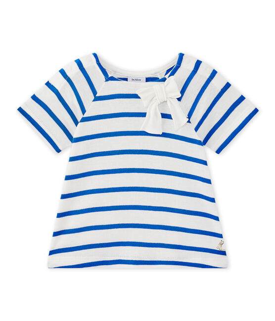 T-shirt bébé fille manches longues rayé blanc Marshmallow / bleu Perse