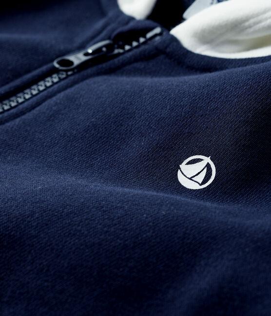 Sweatshirt à capuche enfant garçon bleu Smoking / blanc Marshmallow