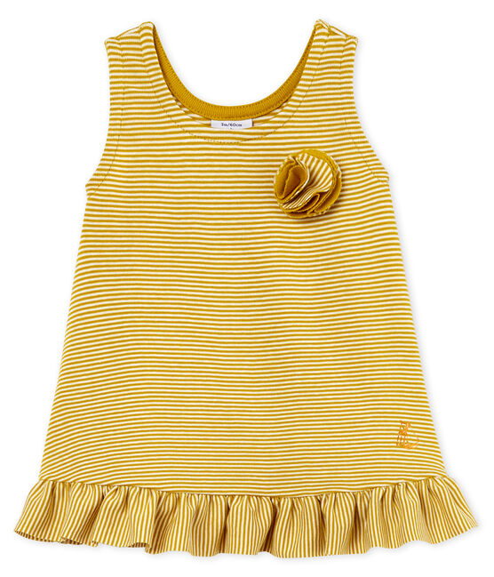 Robe sans manches bébé fille jaune Bamboo / blanc Marshmallow