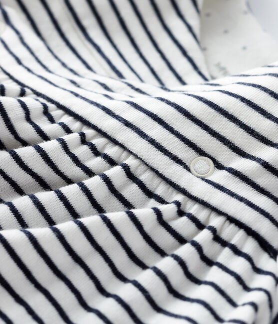 Robe à rayures manches longues bébé fille en tubique blanc Marshmallow / bleu Smoking