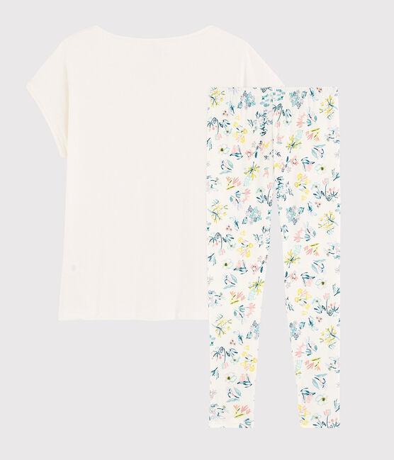 Pyjama fleurs printanières fille- femme en coton blanc Marshmallow / blanc Multico