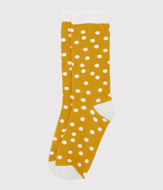 Chaussettes enfant fille jaune Boudor / blanc Marshmallow