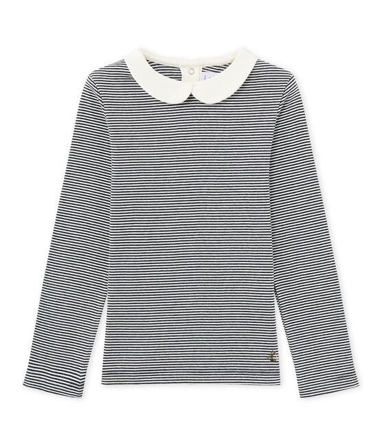 T-shirt fille manches longues en milleraies bleu Smoking / blanc Marshmallow