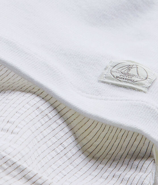 Combicourt bébé garçon bi-matière blanc Ecume / beige Beige