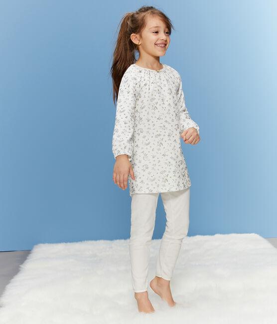 Chemise de nuit petite fille en velours, avec legging blanc Marshmallow / blanc Multico