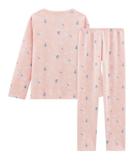 Pyjama rose à imprimé pingouin petite fille en jersey double face rose Minois / blanc Multico