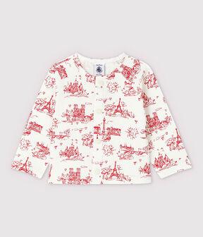 Cardigan imprimé en molleton bébé fille blanc Marshmallow / rouge Terkuit