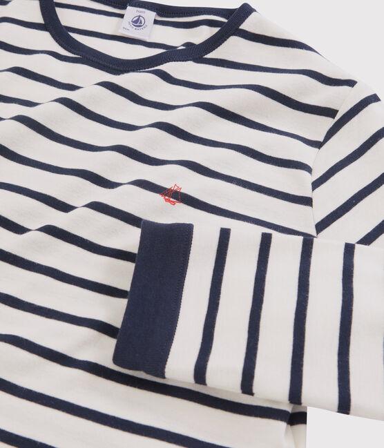 Pyjama marinière enfant en côte blanc Marshmallow / bleu Smoking