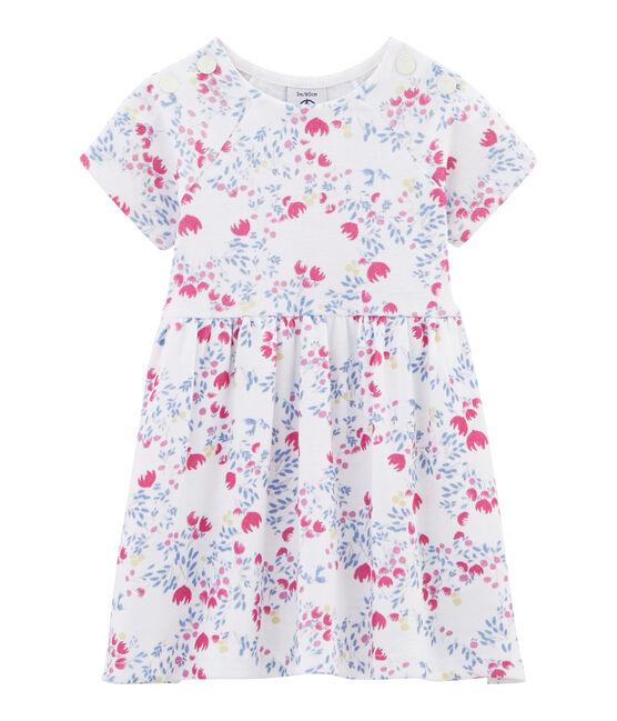 Robe imprimée bébé fille blanc Ecume / bleu Bleu