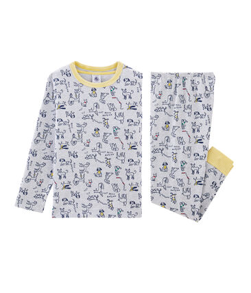 Pyjama petit garçon en côte gris Beluga / blanc Multico