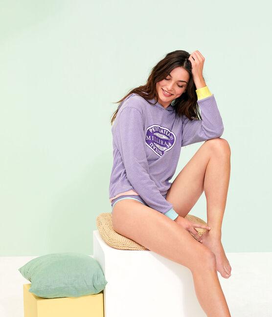 Sweat à capuche femme violet Real / blanc Marshmallow