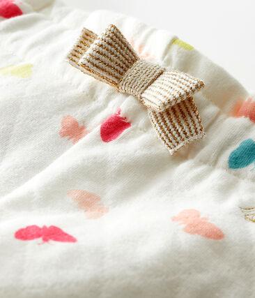 Pantalon bébé fille imprimé blanc Marshmallow / blanc Multico