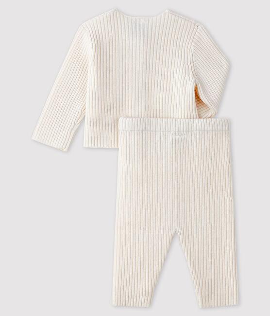 Ensemble blanc 2 pièces bébé en tricot blanc Marshmallow
