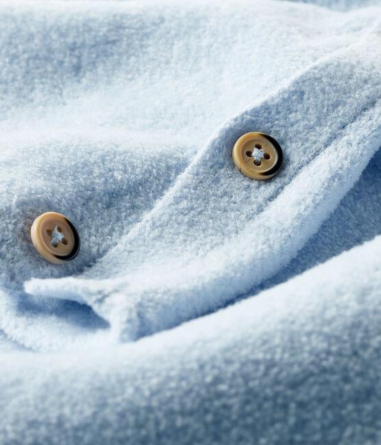 Ensemble deux pièces bébé en coton, laine mérinos et polyester bleu Toudou