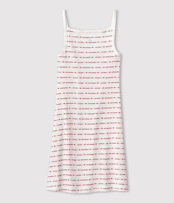 Robe à bretelles Femme blanc Marshmallow / rouge Terkuit