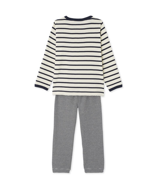 Pyjama garçon 3 pièces beige Coquille / bleu Smoking