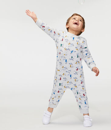 Combinaison longue imprimée bébé garçon gris Beluga / blanc Multico