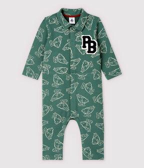 Combinaison longue en molleton brossé bébé garçon vert Vallee / vert Vallee clair