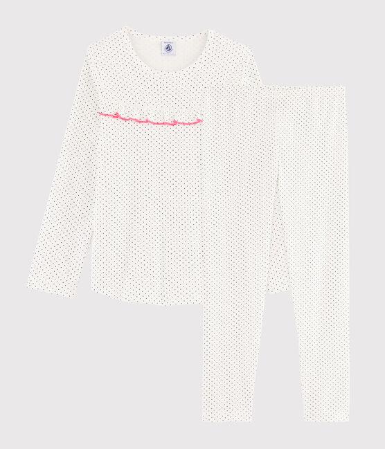 Pyjama à pois petite fille en côte blanc Marshmallow / bleu Medieval
