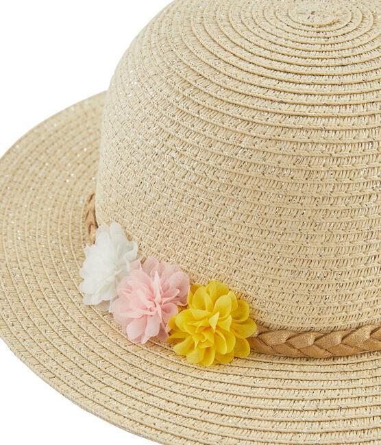 Chapeau de paille enfant fille blanc Marshmallow