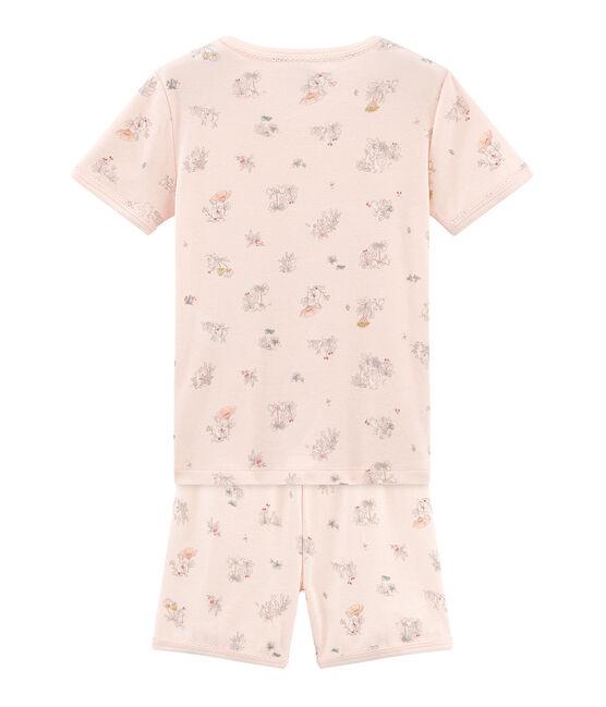 Pyjacourt petite fille coupe très ajustée en côte rose Fleur / blanc Multico