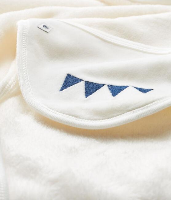 Cape/plaid petit garçon en polaire blanc Marshmallow / bleu Medieval