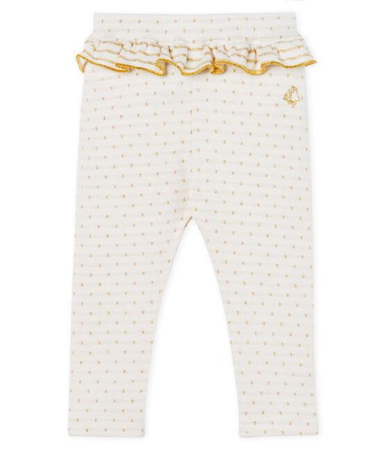 Legging à volant bébé fille blanc Marshmallow / jaune Or