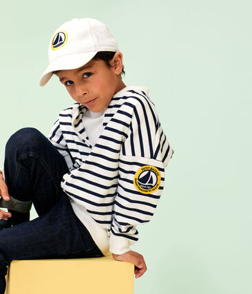 Cardigan enfant garçon blanc Marshmallow / bleu Smoking