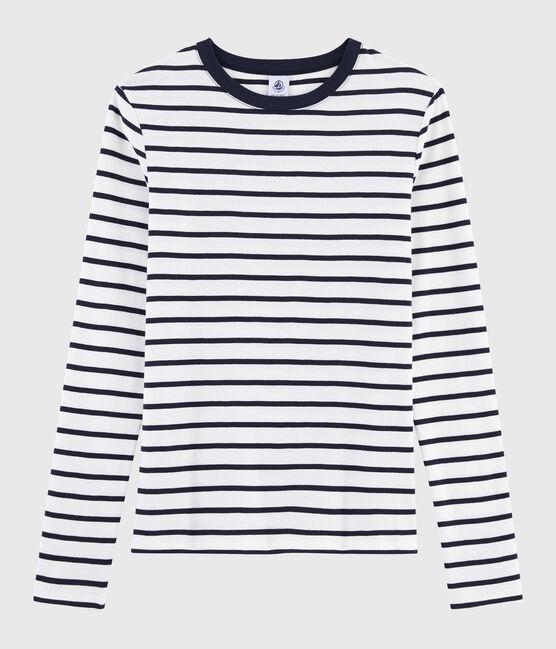 T-shirt iconique col rond Femme blanc Marshmallow / bleu Smoking