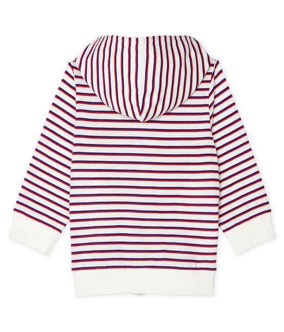 Sweat shirt à capuche rayé bébé garçon blanc Marshmallow / blanc Multico