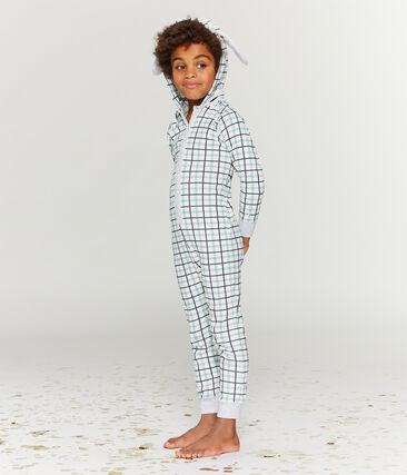 Combinaison longue petit garçon en côte blanc Marshmallow / blanc Multico
